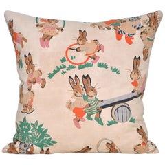 Small Antique Childrens Nursery Fabric Cushion with Irish Linen Pillow
