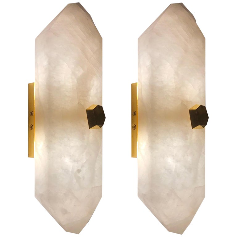 Pair of Diamond Form Rock Crystal Sconces by Phoenix