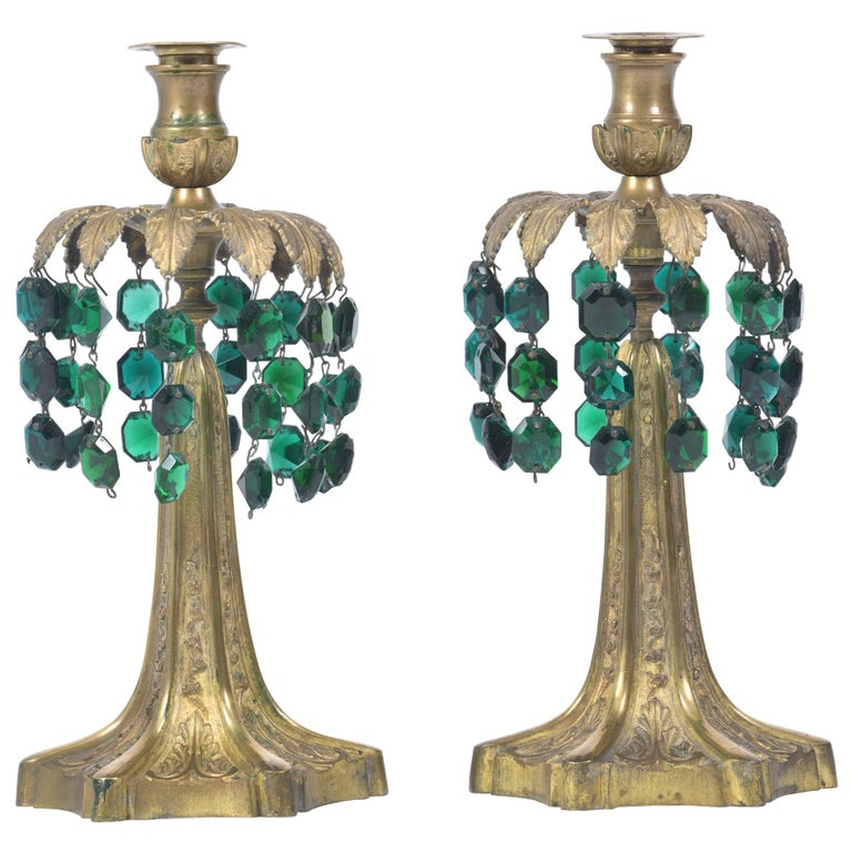 Early 20th Century Pair of Brass Candlesticks with Green Crystal Drops