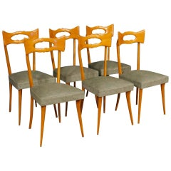 20th Century Beech Wood and Leatherette Italian Ico Parisi Style 6 Design Chairs
