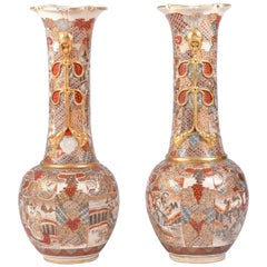 Pair of Over-Sized Japanese Satsuma Vases