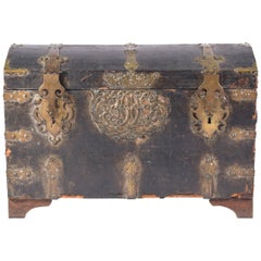 Early 18th Century Leather and Brass Domed Trunk