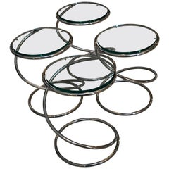 "Set of 4 Chrome and Glass ""Spring Side Tables"" by Pace Collection"
