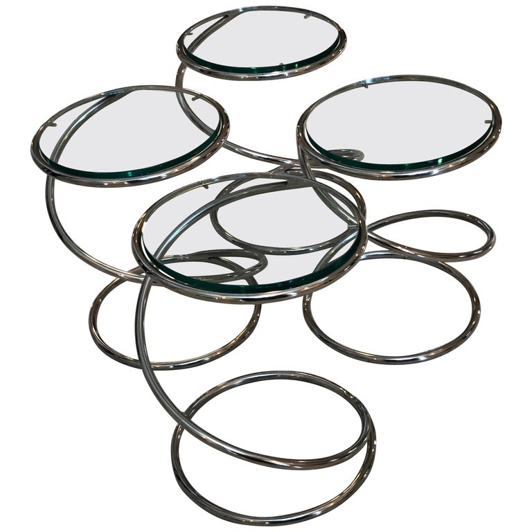 """Set of 4 Chrome and Glass """"Spring Side Tables"""" by Pace Collection"""