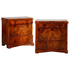 Pair of Biedermeier Period North German Mahogany Chest of Drawers, circa 1820