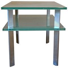 Frosted Glass Bi-Level Rectangular End Table with Matte Aluminum Legs