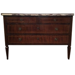Neoclassical Style Walnut Top White Violet Marble Chest Drawers