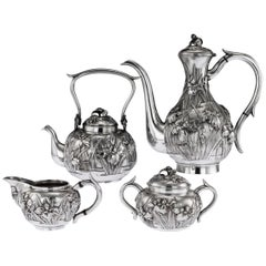 20th Century Japanese Solid Silver Tea & Coffee Set, Kurokawa, circa 1900