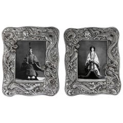Antique 20th Century Japanese Meiji Period Solid Silver Frames, circa 1900