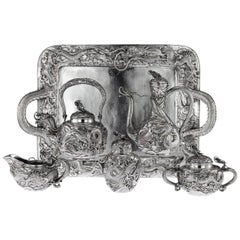 20th Century Japanese Solid Silver Massive Tea & Coffee Service Tray, circa 1900