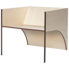 Contemporary QD01 Chair with Maple Wood and Brass Bronzed Structure