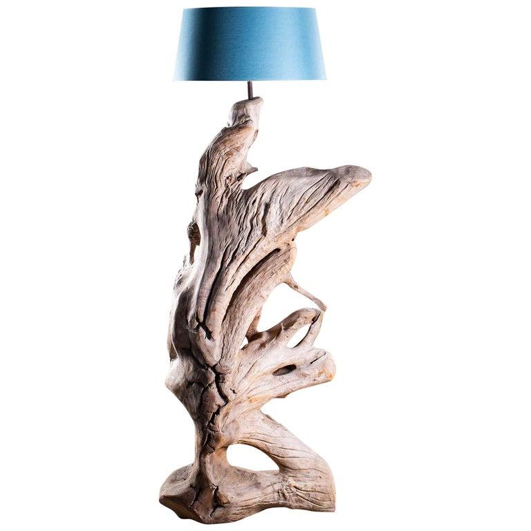 Grand Scale Organic Modern Beach Driftwood Floor Lamp Custom Shade
