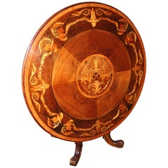 Italian Walnut and Marquetry Center Table