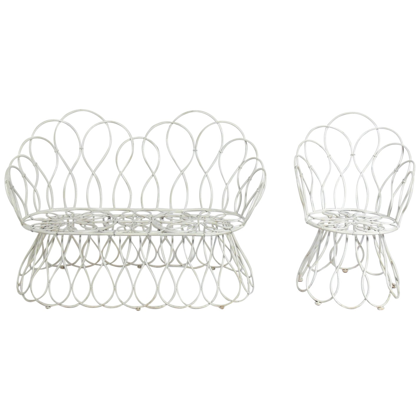 Sculptural Loop Settee and Chair in the Manner of Frances Elkins