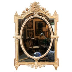 French Louis XVI Style 19th Century Pareclose Mirror with Liberal Arts Symbols
