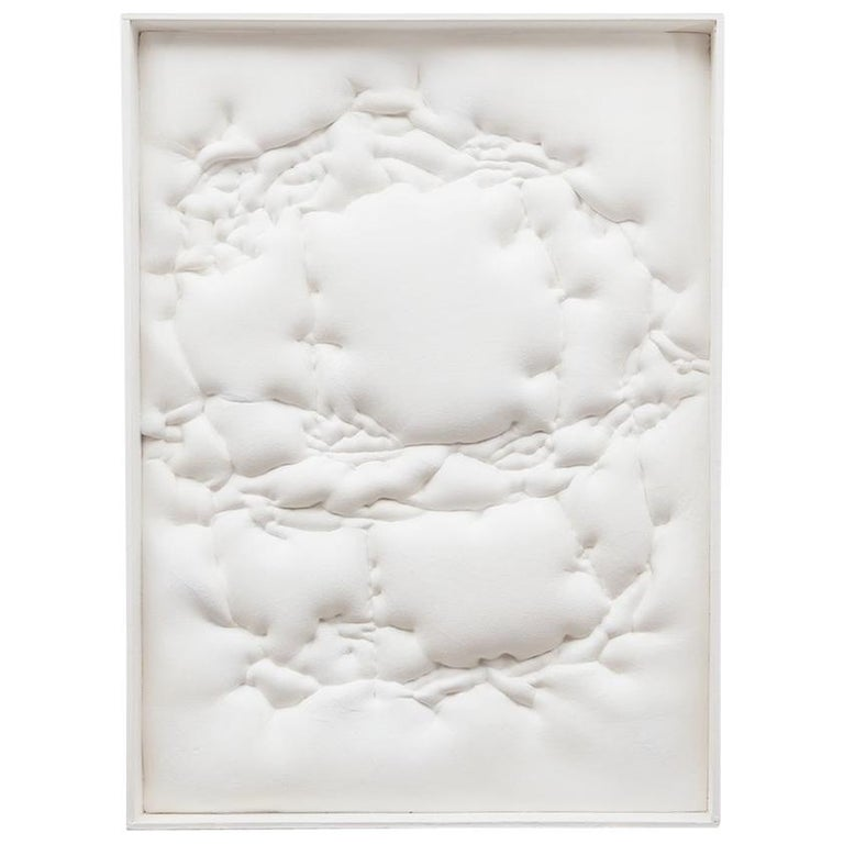 1970s White Wall Object by Artist Ferdinand Spindel 'd' For Sale