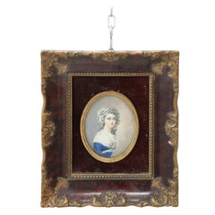 Portrait of a Young Girl in Miniature Painted on Ivory