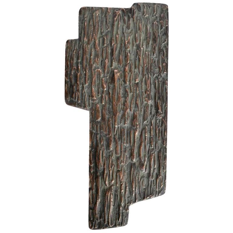 Freeform Push & Pull Bronze Cast Door Handle with Brutalist Relief