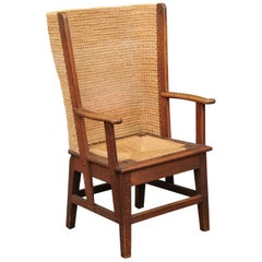 Late 19th Century Oak Orkney Island Wingback Chair with Handwoven Straw Back