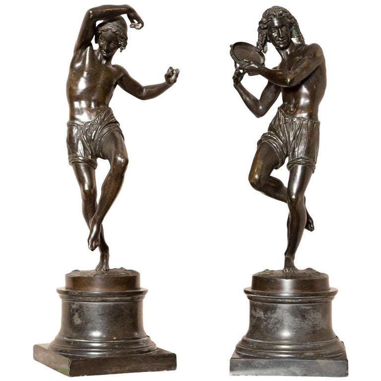 Pair of Patinated Bronze Figures of Male Dancers Signed Duret and Delafontaine For Sale