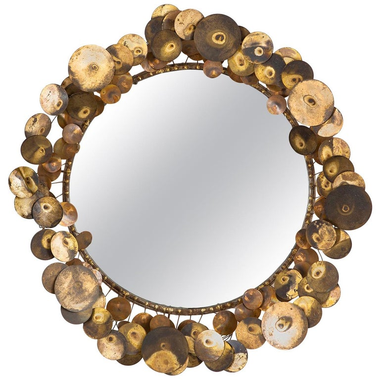 """Curtis Jere """"Raindrops"""" Wall Sculpture Mirror For Sale"""