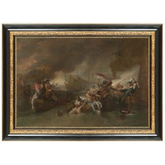 The Battle of La Hogue, after Neoclassical Oil Painting by Benjamin West