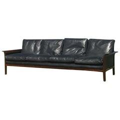 Hans Olsen Danish Leather and Rosewood Sofa for Vatne Mobler