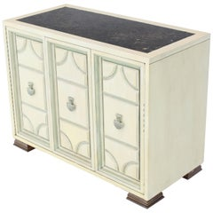 Marble Two Tone Finish Folding Doors Bachelor Chest Cabinet Dorothy Draper Style
