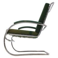 Bauhaus Chrome Tubular Armchair, Anton Lorenz 'Thonet', 1930s