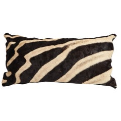 Pillow, Zebra Hide, Chocolate Brown Zebra Hide with Leather Backing, New