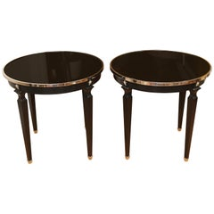 Pair of Neoclassical Style Round Side Tables