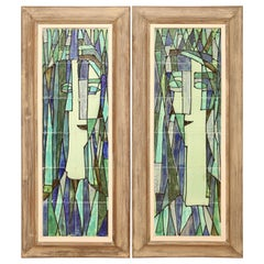 Midcentury Pair of Framed Abstract Tile Pictures by Harris Strong