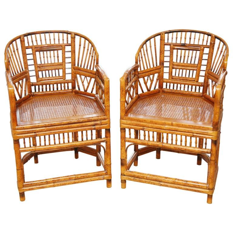 Pair of Vintage Bamboo Brighton Pavilion Armchairs