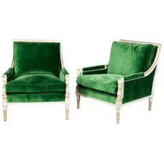 Pair of Ralph Lauren Louis XVI Style Green Velvet Upholstered Painted Bergeres