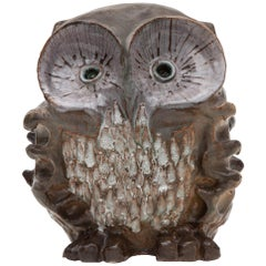 Large Ceramic Glazed Owl Sculpture by Perignem, 1970s Belgium