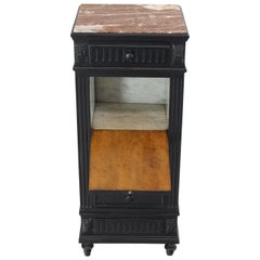 Marble Top Ebonized Black Four Drawers Drop Front Compartment Barber Stand