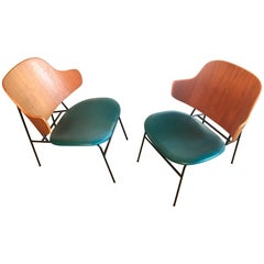 Restored Pair of Penguin Danish Lounge Chairs by Kofod Larsen