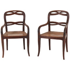 Pair of Dutch Antique Black Forest Fruitwood Armchairs, 1900s