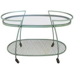 Oval Wrought Iron 1950s Bar Cart by Woodard