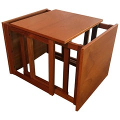 Danish Kai Kristiansen 3 Teak Nesting Tables Cube