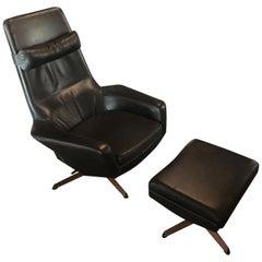 Danish Adjustable Swivel Lounge and Ottoman Original Leather by Kofod Larsen