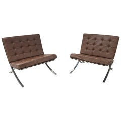 Pair of Early Barcelona Lounge Chairs by Mies Van Der Rohe for Knoll