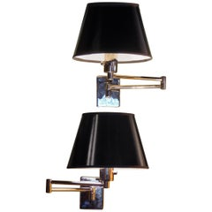 Pair of Hinson Swing Arm Wall Lights in Bright Gunmetal for Hansen Donghia