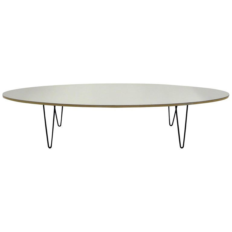 1950s Surfboard Coffee Table on Hairpin Legs Eames Style For Sale