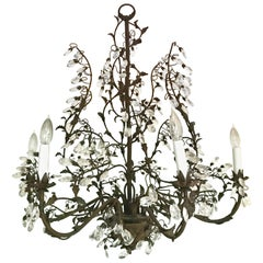 Large Made in Italy Crystal and Metal Tole Six-Light Vine Chandelier