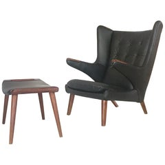 Original Vintage Papa Bear Chair and Ottoman by Hans J. Wegner for AP Stolen