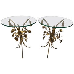 Pair of Round Gold Gilt Metal Sheaf of Wheat Tole and Glass End Tables, Italy