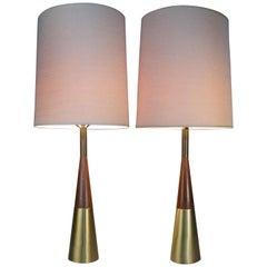 Pair of Modern Walnut & Brass Lamps by Tony Paul