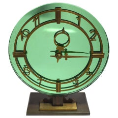 Art Deco English Smiths Green Mirrored Clock