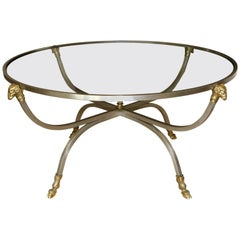 Italian Brass Steel Jansen Style Round Cocktail Coffee Table